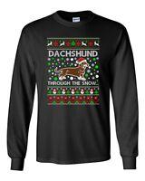 Long Sleeve Adult T-Shirt Dachshund Through The Snow Dog Ugly Christmas Funny DT