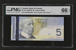 2006-09 Canada Bank of Canada BC-67b 5 Dollars PMG 66 EPQ Gem UNC