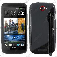 Housse Etui Coque Silicone Motif S-line Gel Souple Noir HTC One S + Stylet