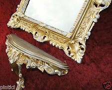 Set Vintage Wall Bracket & Mirror gold-weiss Antique Storage baroque stands Deco