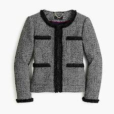 NWT J Crew Blazer Jacket Sz 14 Glen Plaid Lady Tweed Braided Trim Black White
