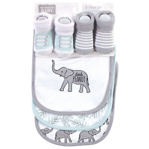 Hudson Baby Cotton Bib and Sock Set, Modern Safari Elephant, One Size