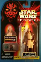 Star Wars Qui-Gon Jinn Naboo w lightsaber, red (Darth Maul) card, Ep1 TPM Hasbro