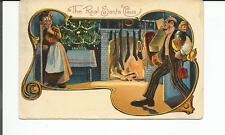 THE REAL SANTA CLAUS POSTCARD - NITE SCENE FATHER COMING IN WITH ARMS FULL