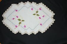 vintage embroidered dressing table doily table centre FUCHSIA crocheted edge