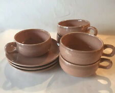 Russell Wright Steubenville Coral 7 Pieces Cups & Saucers Mid Century Modern