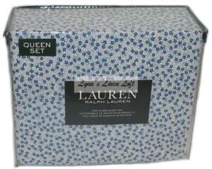 Ralph Lauren Abigail Porcelain Blue Floral 4P Queen Sheet Set New Cotton White
