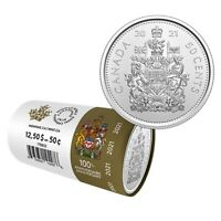 2021 50 Cent Canada Coin From Special Wrapped Mint Roll UNC BU