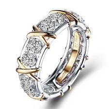 925 Silver 18k Yellow Gold Filled White Topaz Gem Rings Wedding Unisex Jewellery