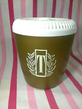 Vintage Gold and White Lettering Single TEA Canister • Mid Century • Plastic