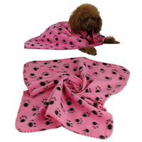 PINK SOFT COZY WARM FLEECE PAW PRINT PET BLANKET DOG PUPPY ANIMAL CAT BED