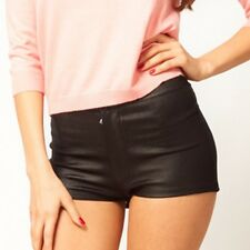 SEXY HIGH RISE LEATHER LOOK DANCE DISCO SHORTS STRETCH PANTS LL