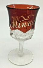 Ruby Red Flash Glass Souvenir Stem Cordial Mini Goblet Liqueur Minnie Allen 1902