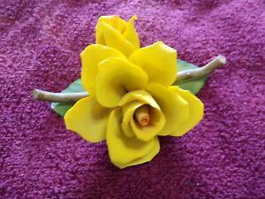 Vtg Capodimonte Yellow Rose Flower Porcelain