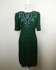 swee lo vintage beaded dress sz 10 emerald green art deco prom 40s styled