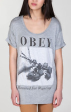 NEW! OBEY CLOTHING ROSES HAUNTED FOR WANTING TUNIC TEE TSHIRT DRESS WOMENS XS