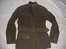 CREW CLOTHING CO WAX FINISH MATERIAL WITH REMOVABLE WARM LINING JACKET SIZE 10