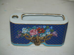 Neiman Marcus Ceramic Toothbrush holder Blue with Flowers