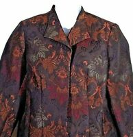 Coldwater Creek 1X blazer brown gold womens floral long sleeve lined jacket nice