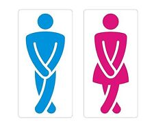 Toilet Signs Male Female Crossed Legs Sticker Decal Graphic Label BluePink Lrg