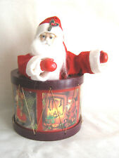 Santa Claus in Drum Wind Up Music Box plays Jingle Bells Moveable preowned