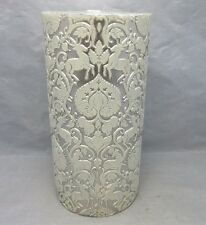 Wedding pillar candle ,embossed dear. White & silver
