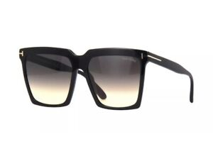 Tom Ford FT0764 764 01B Sabrina Shiny Black Smoke Gradient Sunglasses Authentic