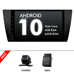 """CAM+OBD+Android 10 9"""" 4+64G IPS Car GPS Stereo Radio BT For BMW E92 E91 3 Series"""