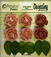 SPICE 6 Mini GARDEN ROSETTE Paper Flowers 25-30mm & 6 Leaves Darjeeling Petaloo