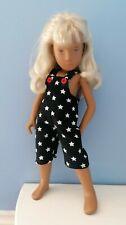 BJB Vintage Sasha doll clothes, Short navy blue stars babycord dungarees