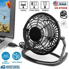 Desk Table Fan Personal USB Small Air Circulator Quiet Mini Portable Retro Black