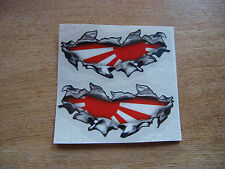 """Torn / Ripped Paintwork japanese """"Rising Sun"""" flag stickers - 100mm decal pair"""