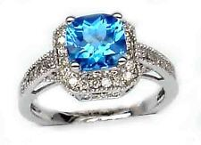 2.20CT G COLOR CUSHION CUT BLUE TOPAZ DIAMOND ENGAGEMENT RING 14K WHITE GOLD