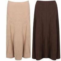 ***new womens ladies half elasticated suede skirt  beige/brown size 12 to 24***