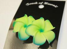 "Hawaii Bridal Wedding 1.75"" Flower Hair Clip Green Blue Plumeria ~ Set of 2"