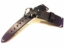 Leather Watch Strap, Handmade, Black watch band, 19mm, 20mm lug, Free Shipping