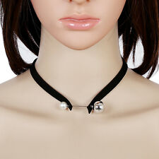 Double Big Small Pearl Alloy Ball Black Suede Leather Choker Pendant  Necklace