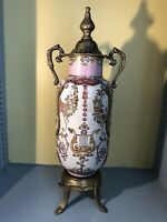 Dominic Porcelain Bronze Footed Grecian Urn Hand-painted Pink 14""