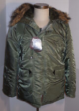 NEW ALPHA INDUSTRIES N-3B PARKA! NYLON! SAGE GREEN!! FAUX FUR TRIM HOOD! X-SMALL