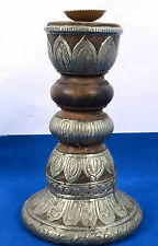 Vintage Used Heavy Wood Beautiful Brass Work Candle Stick Home Decor. i71-28 AU