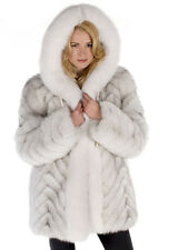 Hooded Real Fox Fur Jacket for Women Plus Size Parka - Chevron Design