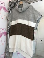 Plus Size M&S Cream Mix Roll Neck Largenlook Sleeveless Cosy Comfy Jumper L