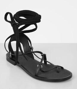 AllSaint Black Leather Gladiator Alba Sandals