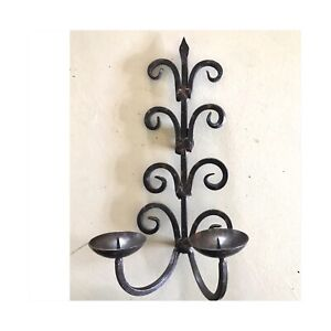 Iron Wall Candleholder. Hand Welded. Vintage