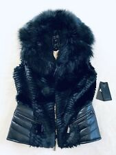NWT Womens Guess Fur Moto Vest Black Jacket Coat Size XS