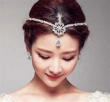 Wedding Bridal Forehead Hair Accessories Tiara Rhinestone Pearl Indian Headband