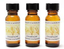 3 Champagne 1/2oz Premium Grade Scented Fragrance Oil Crazy Candles
