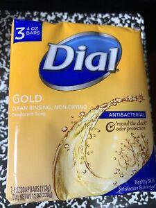 Dial Antibacterial Deodorant Soap Bar, Gold, 4 oz bars, (Pack of 3)