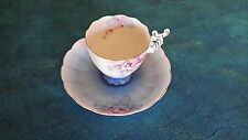 antique tea cup and saucer, made in occupied japan, blue and white, demitasse.
