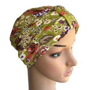 TURBAN IDEAL FOR HAIR LOSS, COTTON FLORAL GREEN JERSEY,  CHEMO, CANCER ALOPECIA